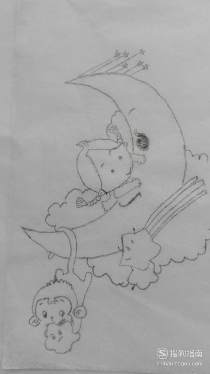 如何画月亮船的简笔画,具体内容