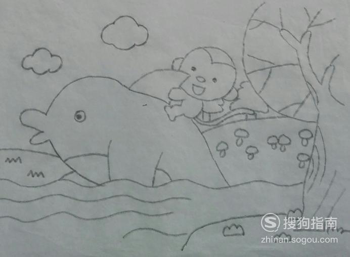 如何画猴子与海豚的简笔画 看完就明白