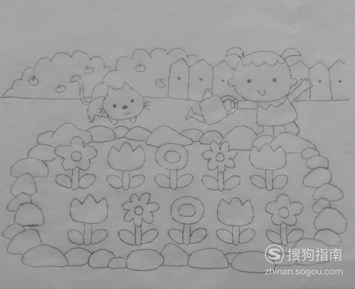 如何画小女孩的花圃的简笔画 大师来详解