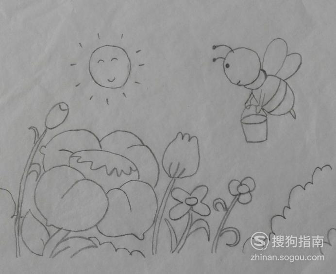 如何画采花蜜的蜜蜂的简笔画,值得一看