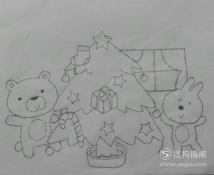 如何画动物们过圣诞的