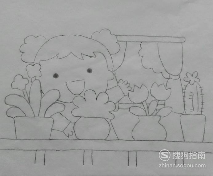如何画看花的小女孩的简笔画 具体内容