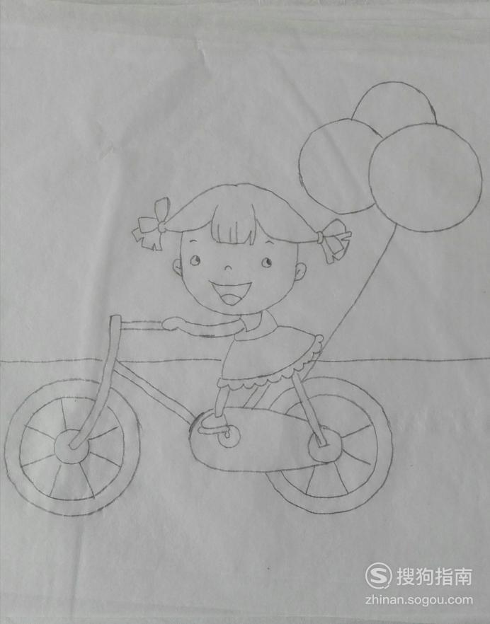 如何画骑自行车的女孩的简笔画 看完就知道了