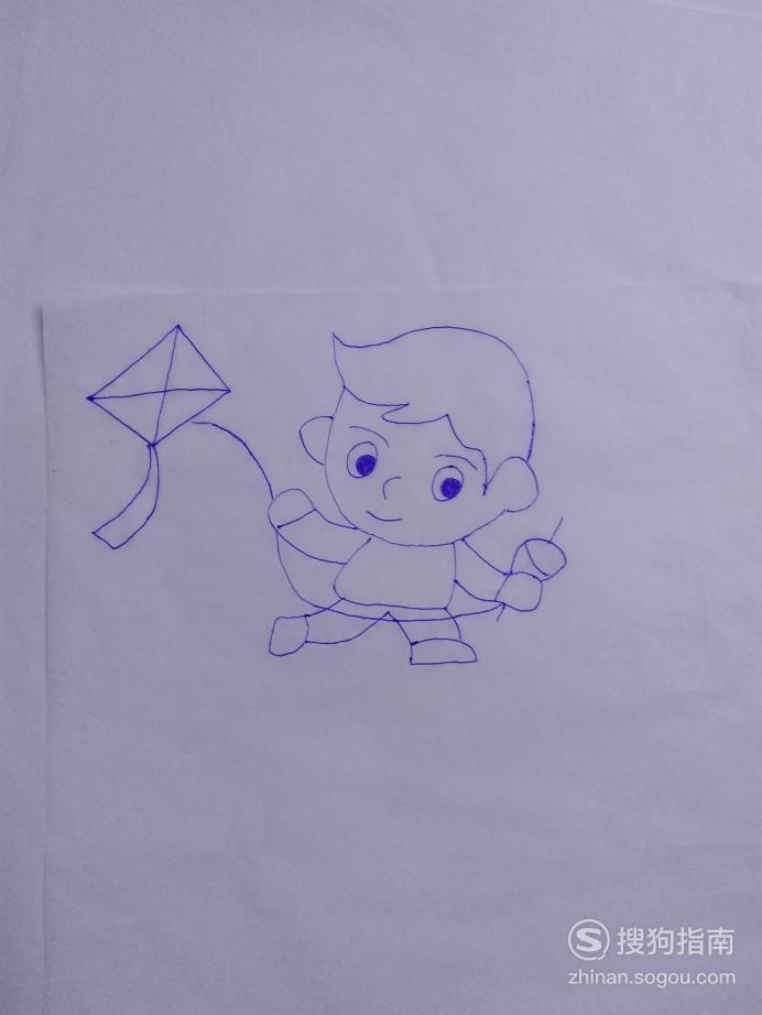简笔画放风筝男孩儿的