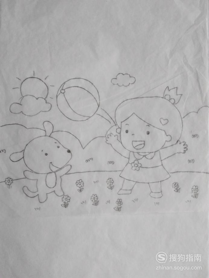 简笔画小女孩儿和小黄狗玩皮球的画法 你值得一看的技巧