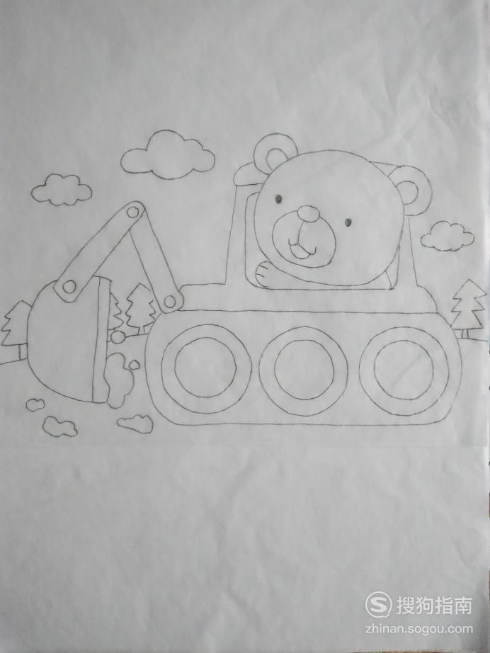 简笔画小熊挖土坑的画法 看完你学会了么