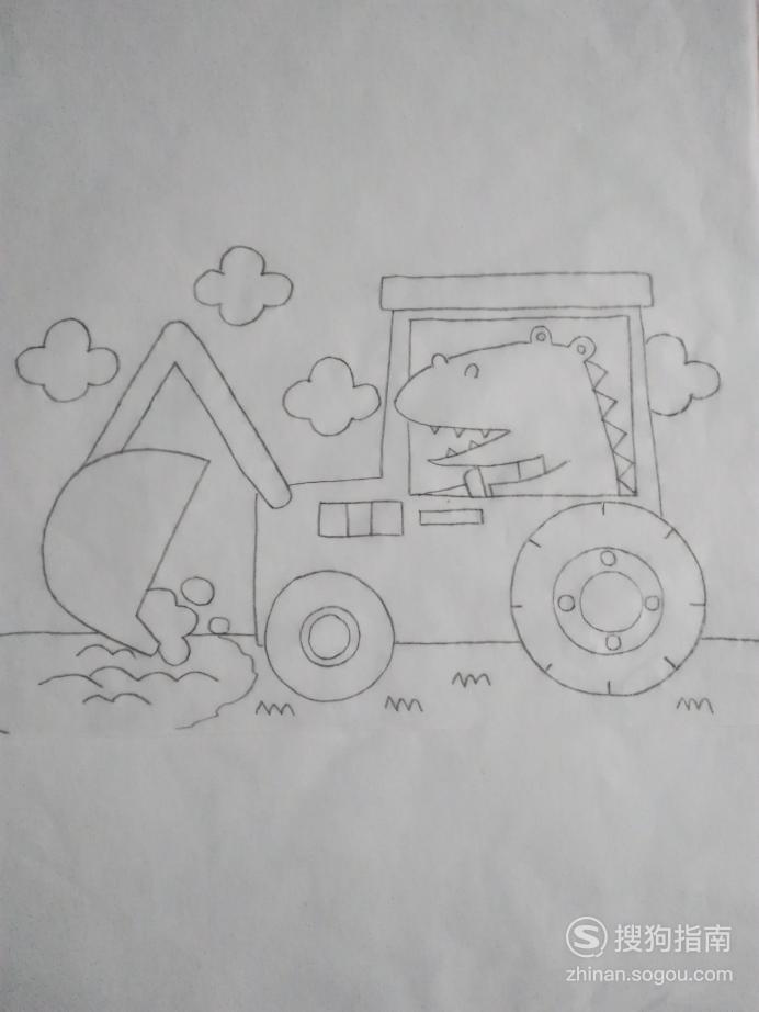简笔画开挖土机的鳄鱼