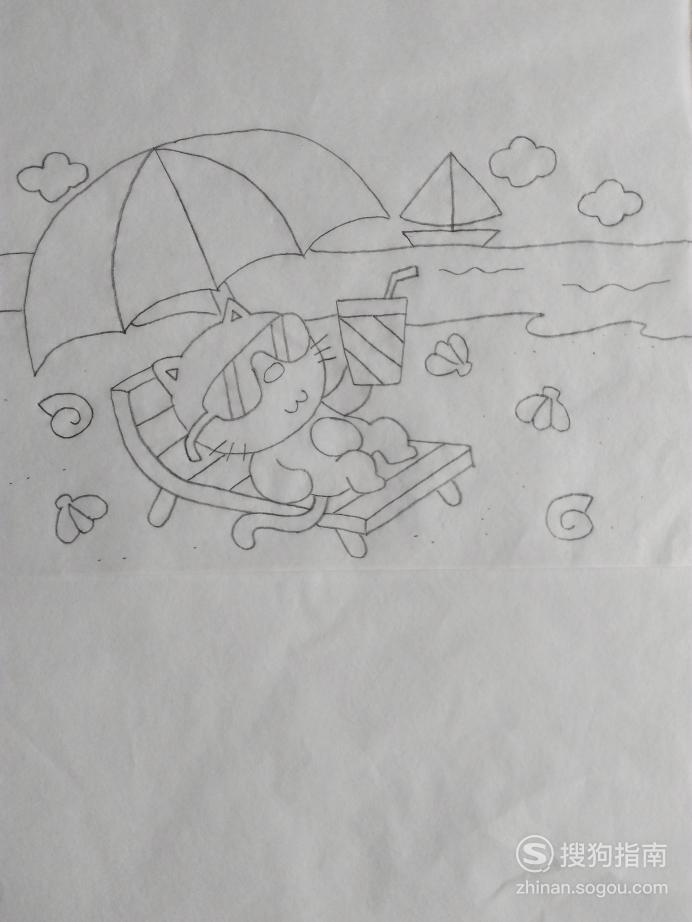 简笔画度假的小猫的画法,看完你就知道了