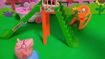 梯,猪爸爸忽然看到滑梯坏了,猪爸爸给修滑梯